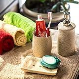 ExclusiveLane Ceramic Soap Dispenser Cum Holder with Tumbler (Off White, Set of 3)