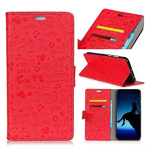 MEIRISHUN Motorola Moto E5 Plus Hülle, [Multi-Karten-/Geldsteckplatz] Muster Brieftasche Flip PU-Leder-Prägung Handytasche für Motorola Moto E5 Plus - Rot