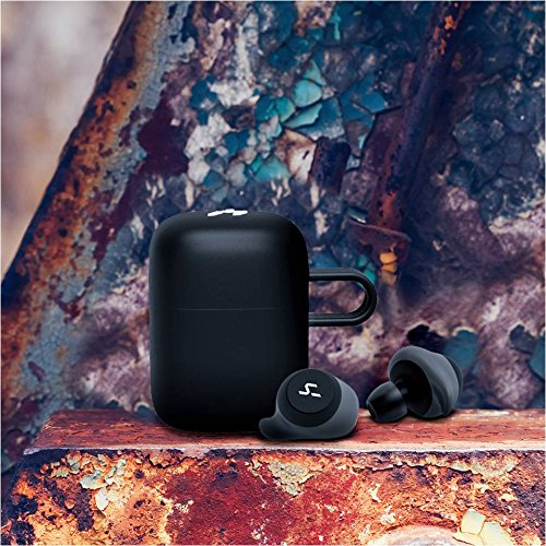 HAVIT TWS Bluetooth In-ear Earphones True Wireless Stereo Earbuds, Storage Box with Charging Function and 21 Hours Play Time, Waterproof and Artificial Intelligence Support (G1, Black+Grey)
