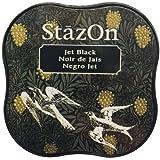 Tsukineko SZM-31 StazOn Midi Stempelkissen, Jet Black, Synthetic Material, schwarz, 5.7 x 5.7 x 2.3 cm