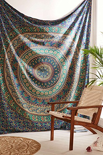 Indian Elephant Tapestry Wall Hanging, Bohemian Mandala Bedding Double, Hippie