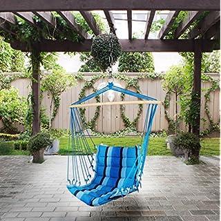 Holifine Aufhängung Hängesessel Hängestuhl aus Baumwolle und Polyester, mit Spreizstab, belastbar bis 100kg - Blau Streifen