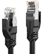 AMPCOM Patch Cable, Snagless Cat6 Ethernet Cable (Cat6 Cable/Cat 6 Cable) | 7 * 0.18mm | OFC | in Black 6.56ft/2m