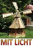 XL PREMIUM-Solar-Windmühle Holzwindmühle, Windmühlen Garten, imprägniert + kugelgelagert 1 m groß in natur geflammt gebrannt hell + klar lackiert MIT SOLARBELEUCHTUNG