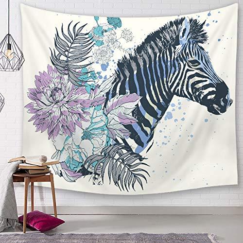 BOBSUY Zebra Cartoon Aquarell Wandteppich Wanddecke Wand Matte Dekor 150cm x 130cm G1 G1 Zebra