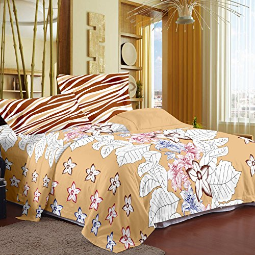 Story@Home Metro Mix N Match 186 TC Floral Bedsheet for Double Bed with 2 Pillow Cotton Covers, Cream