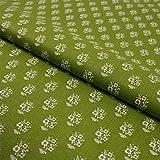 Hans-Textil-Shop Stoff Meterware Weiße Blumen Hellgrün