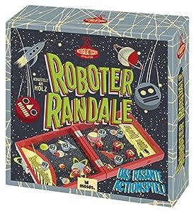 Moses. Verlag GmbH 92101Robot Randale Professor Puzzle | el Acción Parte de Madera, para 2Jugadores a Partir de 6años, Multicolor