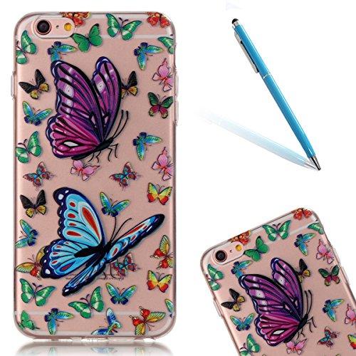 """Hülle für iPhone 6Plus, für iPhone 6sPlus CLTPY Extra Clear Crystal Kreativ Bunte Malerei Series TPU Gelee Schutzfall, Ultradünn Weichem Stoßfest Silikon Protektiv Handytasche für 5.5"""" Apple iPhone 6P Bunte Schmetterlinge"""