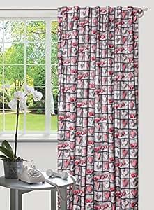 140x245 grau rot rosa Vorhang Vorhänge Schlaufenschal Fensterdekoration Herz Herzen Blickdicht