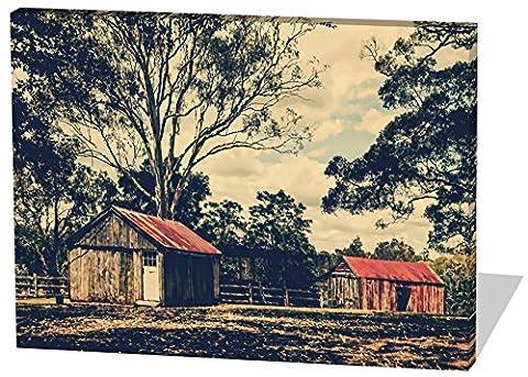 Alte Ranch, Gemälde Effekt, schönes und hochwertiges Leinwandbild zum Aufhängen