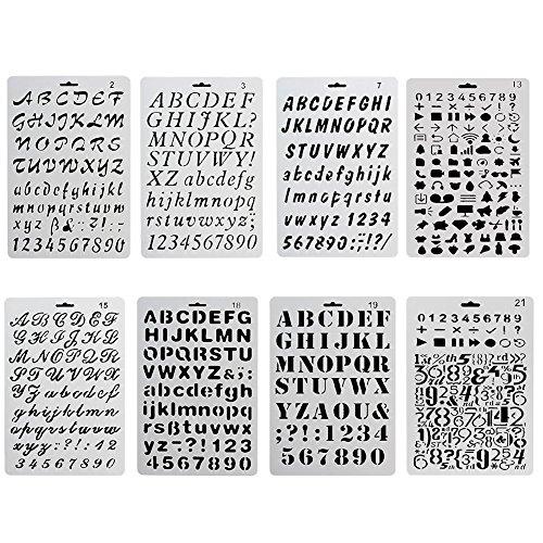 ccmart Kunststoff Bullet Journal Schablone Set der Zahl 8mit Buchstaben Alphabet Symbol Perfekte für Planer/Notebook/Diary/Scrapbook/Journaling/Graffiti/Karte DIY Zeichnen Malen Basteln Projekte (Symbol-schablone)