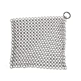 SimpleLife Scrubber Chainmail per casa in ghisa Pulitore per pentole in acciaio inox Silver Square 7 * 7cm / 2.76 * 2.76""