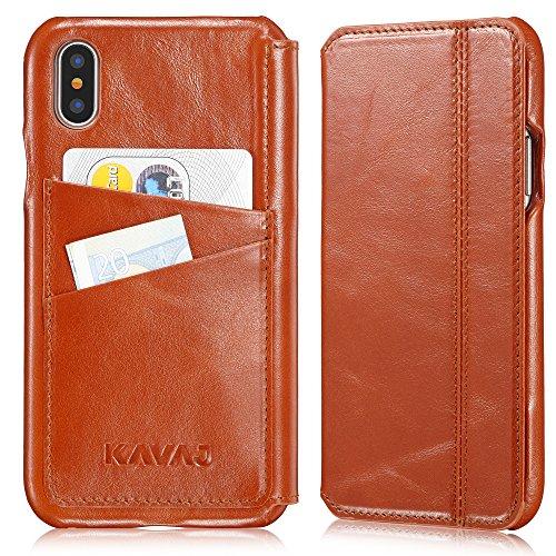 """KAVAJ Coque Cuir Sacoche """"Dallas"""" pour Apple iPhone X marron cognac en cuir véritable avec compartiment pour cartes de visite. Fin étui à rabat comme élégant accessoire pour l'iPhoneX Apple d'origine. Marron Cognac"""