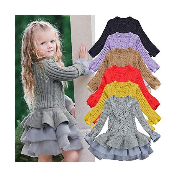 POLP Niñas Vestidos de Suéter de Punto con Manga Volante Pullover Jerseys de Invierno Tutu Suéter para Niñas Falda… 4