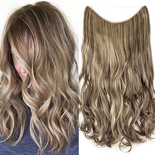 Extension con filo invisibile capelli mossi lunghi castani 50cm wire estensioni fascia unica ondulata no clip in 3/4 full head - marrone scuro mix biondo cenere