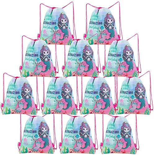 Comius 12 Stück Tüte Kindergeburtstag, Mitgebsel Kindergeburtstag Geschenktüten, Partytüten Kordelzug Rucksack Turnbeutel für Kinder Mädchen Jungen Geburtstag Party (Mermaid)