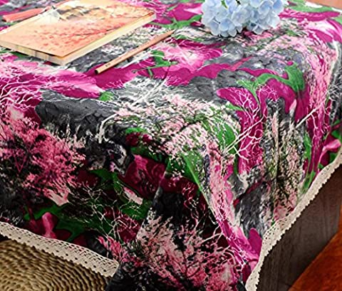 GL&G Vintage Lace Dining Table Cloth Abstract Ink and Wash Water Print Cotton and Tablecloth Multipurpose Cover Cloth Cover Dust Cover,B,140*200CM