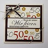 5x Einladungskarten zum 50 Geburtstag *Handmade*in creme-braun-tönen*