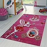 T&T Design Kinder Teppich Für Mädchen Kinderzimmer mit Prinzessin Zauberfee in Pink Fuchsia, Größe:120x170 cm