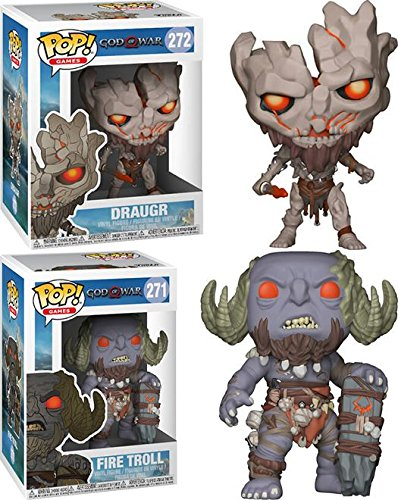 Funko POP! God Of War: Draugr + Fire Troll – Stylized Playsation 4 Video Game Vinyl Figure Set NEW