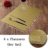 sbfwh Tischset - Platzset 4er Set abwaschbar tischplatz Sets Vintage Quadrat Webart PVC 45cm*30cm(Zufällig Präsentierte 4er Untersetzer) Gold