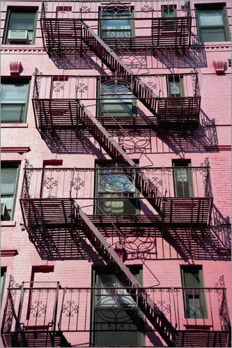 Posterlounge Forex-Platte 120 x 180 cm: Feuerleitern in Manhattan von Dosfotos/Design Pics