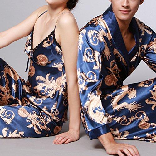Zhhlinyuan Comfortable Lovers Sexy Silk Sleepwear Long sleeves Pajamas Nightgown Royal blue&Gold