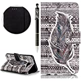 SainCat Coque Etui pour Samsung Galaxy A3(2016) Cover Bumper,Anti-scratch Cuir Dragonne Portefeuille PU Cuir Etui pour Galaxy A3,Coque de Protection en Cuir Folio Housse Avec lanière,SainCat PU Leather Case Bling Diamond Brillant Glitter Wallet Flip Protective Cover Protector,Etui de Protection PU Cuir Relief fille papillon Coque Housse Swag Case Cover Coquille Couverture avec Fonction Carte de Crédit pour Samsung Galaxy A3(2016) + 1 X Stylet(mode noir plume)