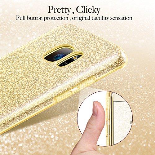 Coque Galaxy S7 Rose, ESR Samsung Galaxy S 7 Coque Paillette Strass Brillante Bling Bling Glitter de Luxe, Housse Etui de Protection Silicone [Ultra Fine] [Anti Choc] pour Samsung Galaxy S7 (Série Maq Or Champagne