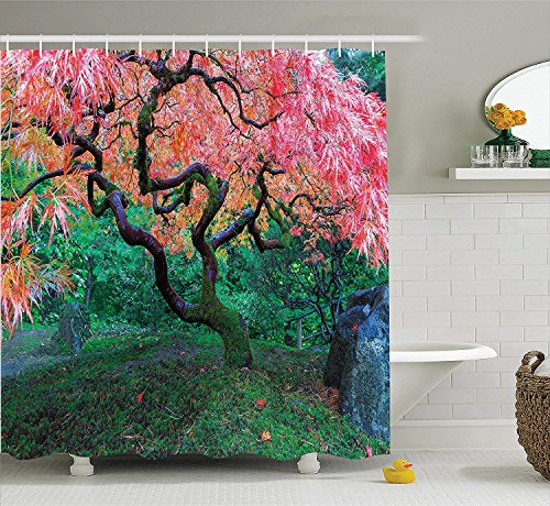 Jolly2T Japanese Decor Shower Curtain Set, Aged Red Leaf Maple with Moss Asian Garden Scenery in The Autumn Grass Relaxation in Nature, Bathroom Accessories, 60x72 Inches, Green -