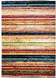 Kleiner Moderner Designer Teppich - Dichter Und Dicker Flor - Mehrfarbig Rot - 80 x 150 cm - Abstraktes Muster - Strapazierfähig Robust Pflegeleicht - Oeko-Tex Zertifikat
