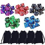 35 Stück Polyedrische Würfel Doppel-Farben Polyedrischen Spielwürfel für RPG Dungeons und Dragons Pathfinder mit 5 Stück Schwarz Beutel