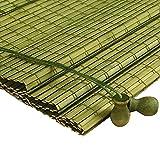 ZEMIN Bambus Rollo Bambusrollo Jalousette Venetian Schatten Innen/Außen Installieren Anpassbar Schön Frisch Handhebend, 3 Farben, 23 Größen (Farbe : Green, Größe : 50x120CM)