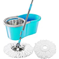 Aysis Microfiber Spin Mop with Easy Wheels and Bucket for Magic 360 Degree Cleaning with 2 Refills (Assorted Colour)