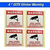 Festnight Nuevo 4 unids/Lote Safurance Impermeable Sunscreen PVC Home CCTV Video Vigilancia Cámara de Seguridad de Alarma Sticker 24 Hour Monitor Signos de Calcomanía de Advertencia