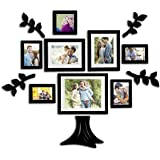 Art street Family Tree Set of 8 Individual Wall Photo Frame with MDF Plaque (Leaf and Trunk)