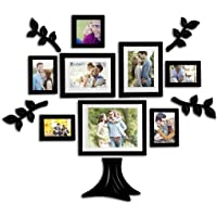 Painting Mantra Art Street Family Tree Set Of 8 Individual Wall Photo Frame With MDF Plaque (Leaf And Trunk)
