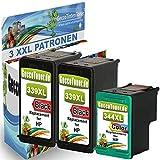 Premium 3er Set Kompatible Tintenpatronen Als Ersatz für HP 339 XL + HP 344 XL für Deskjet 5740 5940 6940 6940DT 6980 6980d 6980dt 6540 6540d 6540dt 5950 5745 6520 6620 6840 5743 5748 6983 9800 9800d 6830 6830V 6988 Druckerpatronen (Schwarz , Farbig) 2x339-1x344-hp