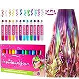 Craie pour cheveux , marqueurs coloré pour cheveux ; accessoire de coloriage pour cheveux non toxique, portable et temporaire, excellent cadeaux d'anniversaire pour filles...