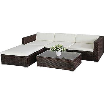 (6034) POLY RATTAN Lounge Braun Gartenset Sofa Garnitur Polyrattan  Gartenmöbel