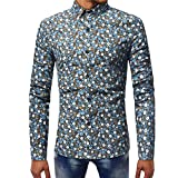 BaZhaHei Herren Langarmshirt Herren Fashion Printed Bluse beiläufige Lange Hülsen-dünne Hemd-Oberseiten Top Oberteile