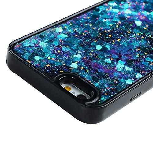 iPhone 6/6S Case Schutzhülle iPhone 6/6S Hülle YOKIRIN Premium Dual Layer Schutz Hybrid Grelles Puder Treibsand Case Cover Handyhülle Flexibel TPU Silikon Schwarz Rahmen + Hart PC Hardcase Hartschale  Blau