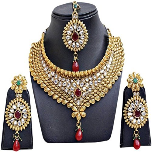 Prita Bridal collection Gold Plated Necklace set for women