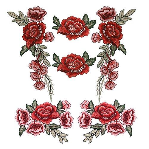Aufnäher Rosen, Outgeek 6 Stück DIY Blume Stickerei Applikation Patches Rosen Aufnähen Aufnäher Blumen Dekoration Handwerk für Kleid Hut Schuhe T-Shirt Jeans -