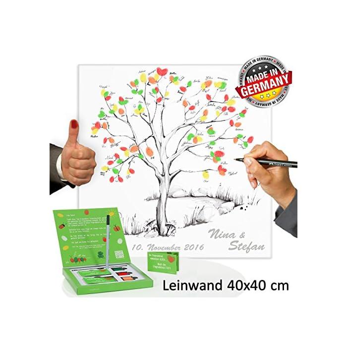 Hochzeitsbaum Fingerabdruck 40x40 cm mit NAMEN & DATUM - INKL Zubehör-Set GRATIS (Stempelkissen+Stift+Anleitung…