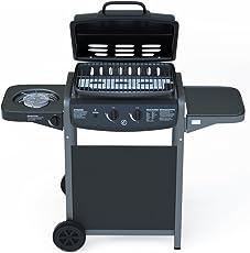 Barbecue a Gas con Termometro Digitale Integrato e Bruciatore fornello laterale - BBQ e Grill in Acciaio Inox Barbecue Da giardino terrazza piscina esterno in Acciaio Nero Laccato e ABS 112 x 52.5 x 96.5 cm