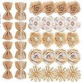 Poualss 28 pezzi tela fiori Vintage tela fiori bowknot tela da imballaggio per mestiere fai da te e rustico decorazione della festa nuziale