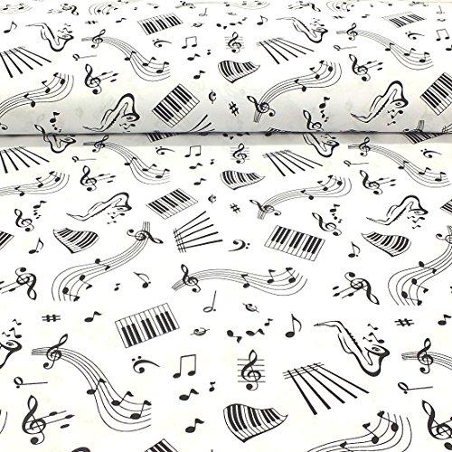 Erstklassiger Baumwollstoff 0,5lfm, 100% Baumwolle, modische Muster, Breite 160cm – Musik (Noten Stoff)
