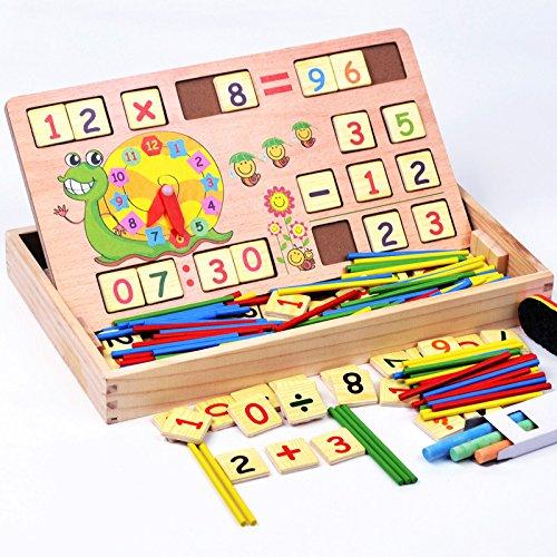 die lehre uhrzeit lernen, mathematik mathematik - stellige zählen lernen box mit hölzernen zahl sticks + 70pcs gegenüber der besagten ziegelsteine blockiert